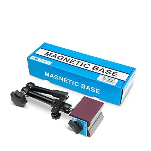 WIKISTORE MAGNET-MESSSTATIV MIT ZENTRALKLEMMUNG, Gelenk- und Gelenkpräzisionsmessuhr, magnetische Komparatorbasis mit 60-kg-Magnet, Höhe 290 mm und M8-Gewinde