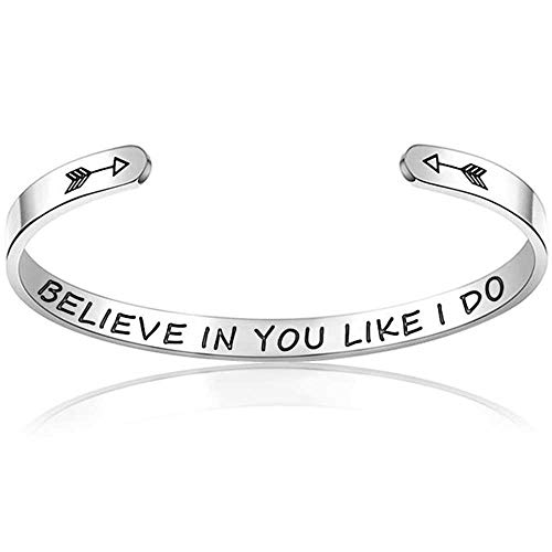 Jude Jewelers 6mm Stainless Steel Inspirational Courageous Mantra Graduation Christmas Children Bangle Bracelet (Believe in You Like I do)