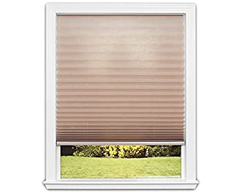 Redi Shade 3512165 Trim-at-Home Light Filtering Fabric Natural 36 in x 64 in  Fits windows 19 in-36in  Easy Lift Cordless Pleated Shade 36 Inch x 64 Inch