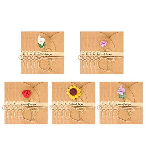 Jubaopen 25 Pcs Biglietto di Auguri con Buste Decorato Cartolina di Carta Kraft di Lettera...
