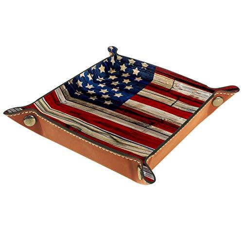 XiangHeFu Bandeja de Cuero Bandera Americana en la Valla de Madera Oscura. Almacenamiento Bandeja Organizador Bandeja de Almacenamiento Multifunción de Piel para Relojes,Llaves,Teléfono,Monedas