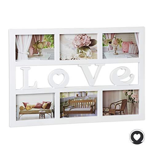 Relaxdays Bilderrahmen Love, Collage für 6 Fotos 10x15 cm, Galerierahmen zum Aufhängen, HBT: 33 x 48 x 1,5 cm, weiß