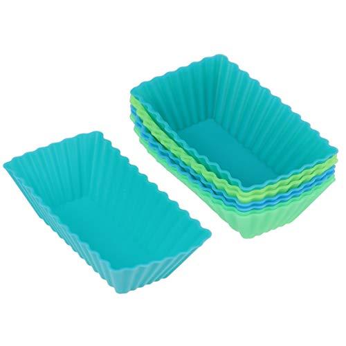 BESTONZON - Set di 8 pirottini per muffin in silicone, rettangolari, riutilizzabili, per cupcake, 8 pezzi