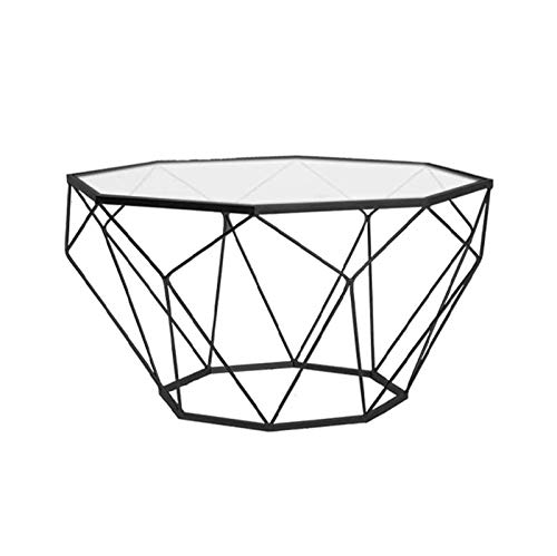 DJDLLZY Mesa de Centro Nordic Hierro Forjado Vidrio Templado Mesa Simple