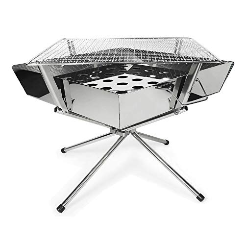 Guotail Firebox Compact, BBQ Stove Bonfire Grill Compact Stainless Steel BBQ Outdoor Camping with Storage Bag