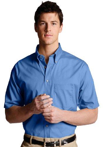 Edwards Men's Easy Care Short Sleeve Poplin Shirt, FRENCH BLUE, XLarge