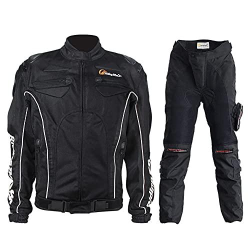 ZDSKSH Traje Moto de Verano para Hombre, Chaqueta y pantalón 2 Piezas con Protecciones y reflectores cómodo y Transpirable