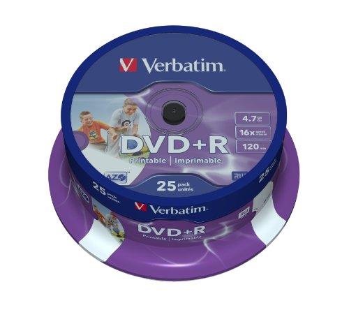 Verbatim DVD+R 16x Speed 4,7GB Wide Printable Surface 25er Spindel DVD-Rohlinge