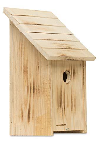 Windhager Nistkasten FAMILY, Vogelhaus Brutkasten Nisthilfe Vogelnistkasten, aus Massivholz, 38,8 x 26,4 x 14 cm, braun, 06922