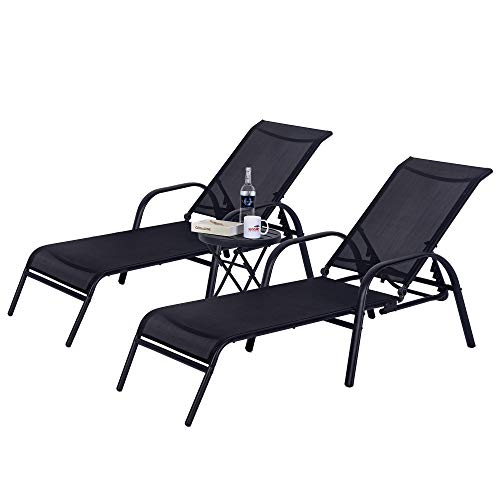 Sundale Outdoor 3PCS Adjustable Patio Chaise Lounge Set All Weather Outdoor Pool Lounge Chair with Foldable Table