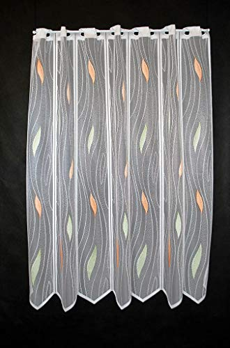 Scheibengardine mit Tropfenmuster 100 cm hoch | Breite der Gardine durch gekaufte Menge in 14 cm Schritten wählbar (Anfertigung nach Maß) | weiß mit pastellgrün/pastellorange | Vorhang Küche Wohnzimmer