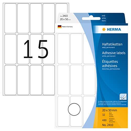HERMA 2410 Vielzweck-Etiketten klein (20 x 50 mm, 32 Blatt, Papier, matt) selbstklebend, permanent haftende Haushaltsetiketten zur Handbeschriftung, 480 Haftetiketten, weiß