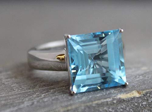 15mm Prinzessschliff Blautopas Sterling Silber Ring US-Größe 6 / Diameter 16.5 (norway)