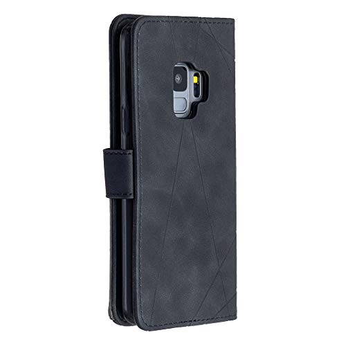 GUOQING Funda para Samsung Galaxy S9 multifuncional de piel sintética de alta calidad, con función de atril, plegable, color negro