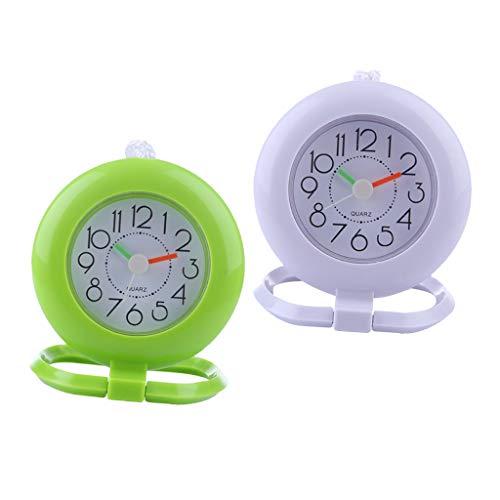 2本 壁掛け時計 浴室 シャワー スレート 吊り下げ式 時計 タオルリング付き