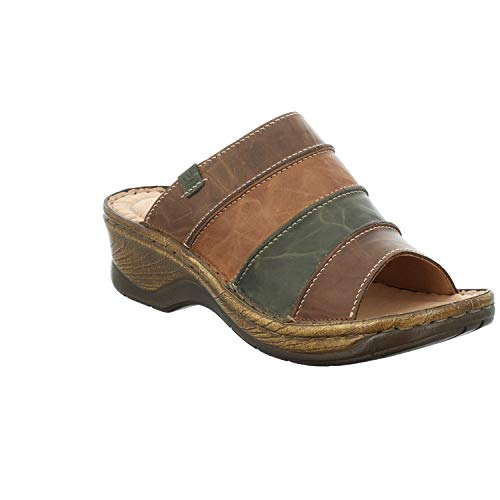Josef Seibel Damen ClogsPantoletten Catalonia 64, Frauen Clogs, Woman Freizeit leger Slipper Slides Sandale sommerschuh,Brandy-Multi,37 EU / 4 UK