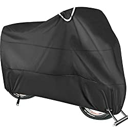 Double and Waterproof Protection: Bike cover is made of high density and durability 190T nylon Nylon material with PU coating. Anti-UV / Waterproof / Dust-proof, Reflective safety loops help locate handlebar position, well protected your bike from an...