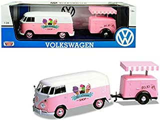 DIECAST 1:24 W/B - Volkswagen Type 2 (T1) ICE Cream Truck (Pink) 79672 by MOTOR MAX