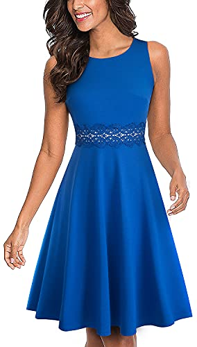 HOMEYEE Women's Sleeveless Cocktail A-Line Embroidery Party Summer Wedding Guest Dress A079(6,Blue)