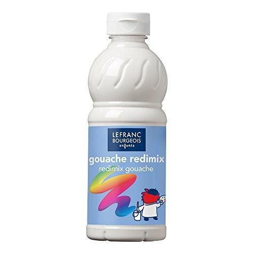 Lefranc & Bourgeois Educación, Gouache líquida Redimix, témperas para niños, 500ML Blanco, Pinturas para niños y Manualidades