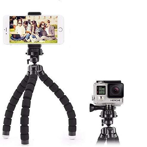 Taoric Mini Flexibele Sponge Octopus Statief voor iPhone Xiaomi Huawei Smartphone Statief voor Gopro Hero 8 7 6 Camera Accessoire met Telefoon Clip (Zwart)