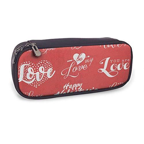 Estuche Escolar de Gran Capacidad,Diseño de Tipografía Del Día de San Valentín,Bolsa de Lápiz Organizador para Material Papelería con Cremallera Doble