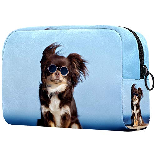 Neceseres de Viaje Animal Gafas de Sol Perro Portable Make Up Bags Neceser de Práctico Bolsa de Lavado de Baño Viajes Vacaciones Fiesta Elementos Esenciales 18.5x7.5x13cm