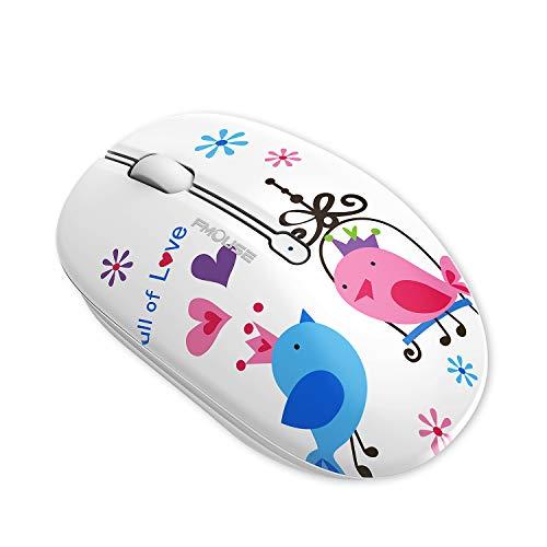 Coener Ratón Inalámbrico Bluetooth, M102 BT5.0 + 2.4G inalámbrico Mouse Bluetooth Compatible con Laptop/Macbook/iPhone (OS 13.1.2 y Posterior)/PC/Computer/Android (Bird)