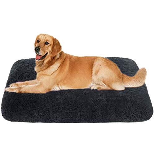 Hundebett Abnehmbare Hundekiste Matratzenauflage Flauschiges großes Hundebett weiches Welpensofa Katze Schlafunterlage Luxus-Kistenauflage für große mittelgroße kleine Hunde(M-75 x 50 cm,Dunkelgrau)