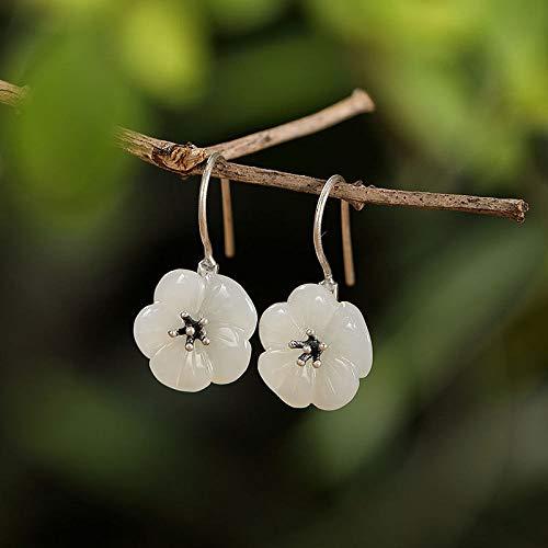 Women'S For Drop Earrings,Elegant Delicate S925 Silver Natural Hetian Jade Plum Blossom Dangle Hook Earrings For Women And Girls Handmade Unique Creative Luxury Women'S Jewelry Gift