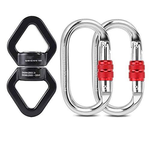 Malayas Connettore Discensore Anello Arrampicata a Rotazione in Lega di Alluminio-Magnesio 30 KN per Amaca Yoga Scalata Arrampicata Accessori Girevole a 360 Gradi 2 Moschettoni di Acciaio