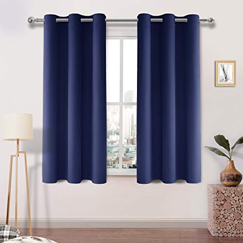DWCN Blackout Curtains Room Darkening Thermal Insulated Grommet Window Curtain for Bedroom Living Room 42 x 45 Inch, Navy Blue Thick Curtain, Set of 2