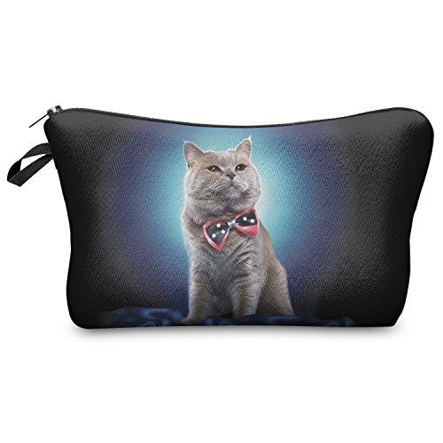 Fringoo Women's Make Up Bag Bag Cosmetics Wallet Pencil Holder Organiser Pouch L22 X H14 X W8 Cm Blue Bow Cat