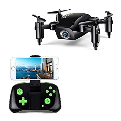 LBLA 1 RC Foldable Mini Drone Gift for Kids/Adults, 6-Axis Gyro with Altitude Hold Remote Control Quadcopter HD WiFi Camera FPV 2.4Ghz, 8 Minutes Flying Time, Black