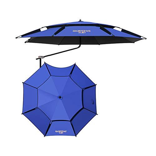 Sombrilla Paraguas de pesca Azul Rotación de 360 ° Proteccion solar Protección UV, Sombrilla de jardín Sombrilla de playa Paraguas de mercado Ronda Paraguas al aire libre portátil Ángulo ajustable