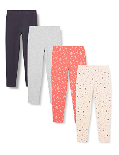 Amazon-Marke: RED WAGON Mädchen Leggings mit Print, 4er-Pack, Mehrfarbig (Space/Flamingo), 110, Label:5 Years
