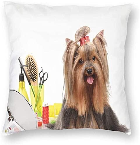 Yorkshire Terrier con Elegante Equipo de peluquería, Tijeras de Espejo, Fundas de Almohada, Funda de cojín Decorativa, 18 x 18 Pulgadas