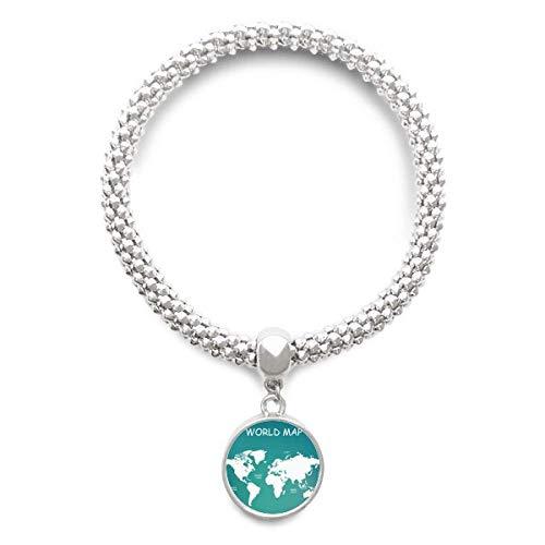 DIYthinker Womens wereldkaart continent distributie Silhouette Sliver armband ronde hanger sieraden ketting