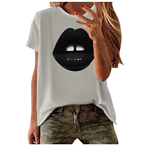Yowablo T-Shirt Femmes Mode Casual Manches Courtes Impression O-Neck Blouse Tops (M,1Gris)