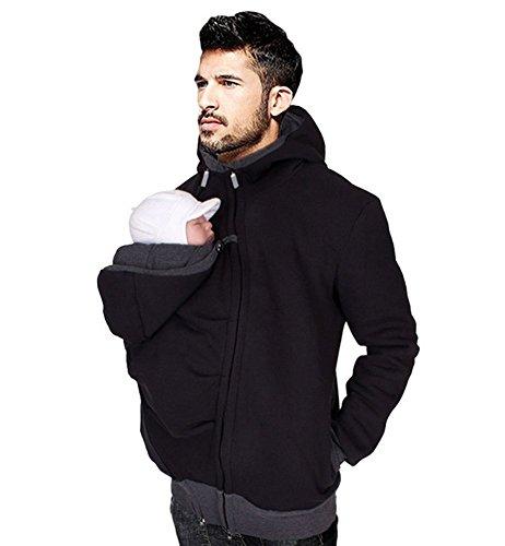 FANER Herren Känguru-Kapuzenpullover für Papa und Babytrage Mantel Babytrage Sweatshirt Pullover - Schwarz - Large