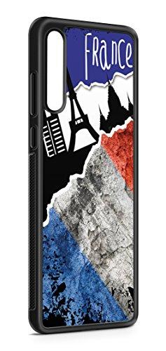 Kompatibel mit Samsung Galaxy A50 Silikon Handyhülle Flexibles Slim Case Cover Frankreich Fahne Flagge Schwarz