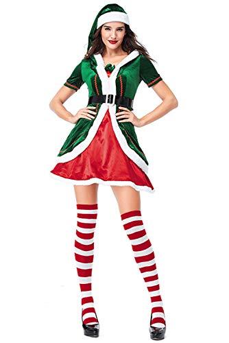 Traje de Mujer y Hombre de Halloween Disfraz de Navidad de duendecillo de muneco de Nieve de Papa Noel Elf,XL