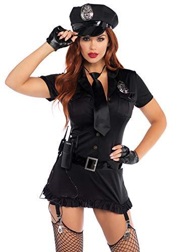 Leg Avenue Women's 6pc. Dirty cop incl hat, Dress, Gloves, Belt, tie & walkie Talkie, black, Medium/Large