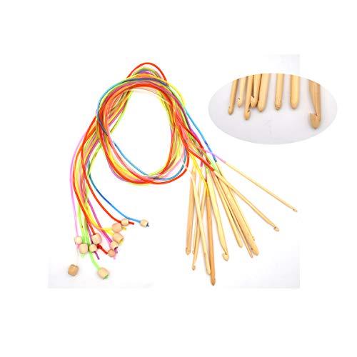 Liwein 12 Piezas Agujas Ganchillos Crochet de Bambú,Aguja de Crochet Tunecino Tejer Ganchos kit para Ropa de Bebé Encaje Tapetes Alfombra Tejido(3.0-10.0mm)