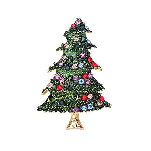 Demarkt Christmas Brooch Pin Christmas Tree Shaped Rhinestone