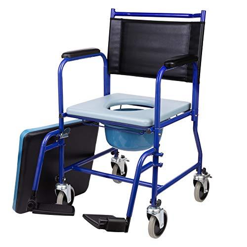 CO-Z Silla de Ruedas con Inodoro Portátil para Mayores Silla Orinal para Ancianos con Ruedas y Reposapiés Silla de WC o Inodoro para Minusválidos Discapacitados Ancianos hasta 150 kg (Con rueda) ⭐