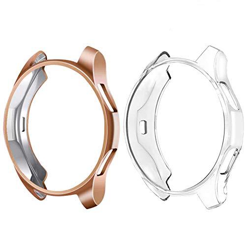 CAVN Schutzhülle Kompatibel mit Samsung Galaxy Watch 42mm Hülle [2-Stück], Flexibles TPU Ultradünner Vollschutz Stoßfestes Bruchsicher Hülle für Galaxy Watch 42mm SM-R810/SM-R815, Klar + Rosegold