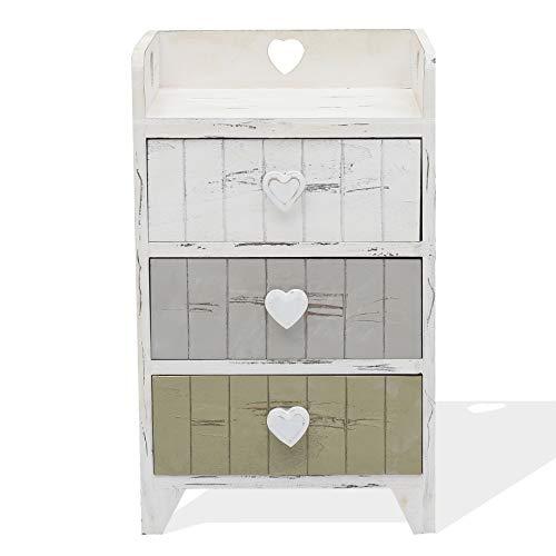 Rebecca Mobili Comodino 3 cassetti, cassettiera bianca grigio beige, legno paulonia, shabby, camera bagno - Misure: 58 x 35 x 27 cm (HxLxP) - Art. RE4378