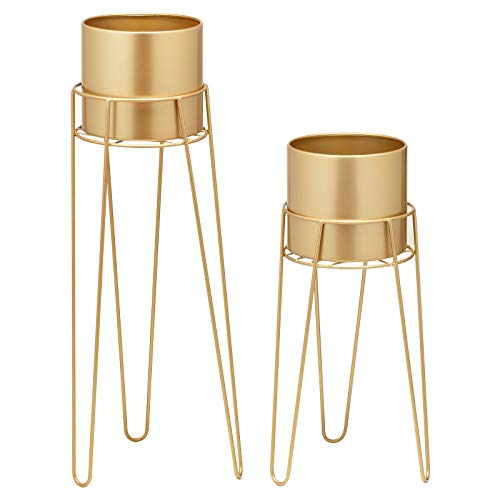 Hartleys Set of Tall Hairpin Leg Plant Pots with Stands - Choice of Colour
