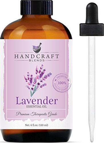 Handcraft Lavender Essential Oil - Huge 4 OZ - 100% Pure & Natural – Premium Therapeutic Grade with Premium Glass Dropper